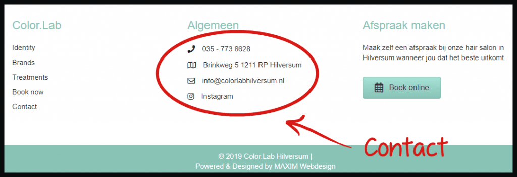 Contact footer website colorlabhilversum maxim webdesign