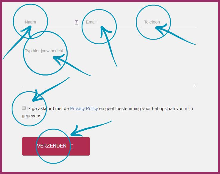 contactformulier Maxim Webdesign voorbeeld