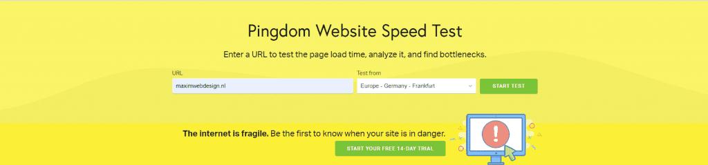 Pingdom Tools om te zien hoe snel je website laad